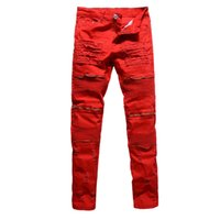 Discount black pants red stripe - Wholesale- Men's fashion red white black holes ripped pleated biker jeans moto Casual slim stretch Knee zipper destroy denim pants trousers