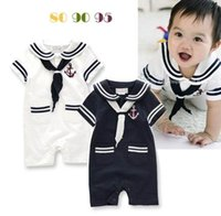 Wholesale Baby Boys Overalls - Retail Wholesale Baby Boys onesies Rompers Sailar Collar Summer One-Piece Jumpsuits Overalls Toddler Clothes 3-18M E13255