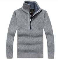 Wholesale Cardigan Big Size - Warm Thick Velvet Cashmere Sweaters Men Winter Pullovers Zipper Mandarin Collar Man Casual Clothes Pattern Knitwear Big Size 3xl
