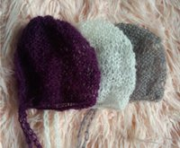 Wholesale Baby Photo Props Mohair - Newborn Photo Prop Mohair hat bonnet Hand Knitted Baby Photography Props Hollow out hat