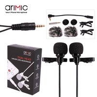 Wholesale Lavalier Microphone Wholesale - Wholesale- AriMic Dual-Head Clip on Lapel Microphone Lavalier Omnidirectional Condenser Recording Mic for iPhone Sumsang DSLR Camera Phones