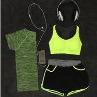 Wholesale Sport Short Pants For Women - Hot Women Yoga Suit tracksuits for Gym Running Yoga Suit Fitness Yoga Top Bra Pants Bodysuit Gym Sports Tights Yoga Sets