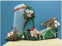 Wholesale Sandals Platform Summer - 2017 Fashion Mixed Colors Print Luxury Flowers Superstar Women Brand Buckle Straps Platform Wedges Chinese Style Summer Sandals