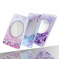 Wholesale Iphone Cover Mirror Bling - For iphone 6 6S 7plus Sparkly Bling Case Mirror Flowing Liquid PC Hard Back Case Cover iphone 6 7 plus
