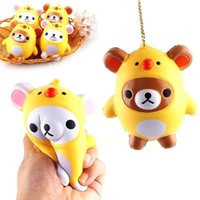 Wholesale Cute Big Rings - 2017 New Squishy Kawaii Bear Chicken Slow Rising Toys Pendant Phone Straps Charms Kid Toys Cute Squishies Phone Charms Handbag Ring