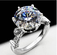 Wholesale court jewelry for sale - Group buy New Sterling Silver k White Gold Plated ct NSCD Synthetic Diamond Women Wedding Ring Classic Jewelry Engagement Royal Court Style