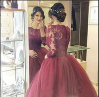 Wholesale Evening Quinceanera - 2017 New Burgundy Quinceanera Ball Gown Dresses Bateau Neck Long Sleeves Lace Appliques Organza Sweep Train Sweet 16 Party Prom Evening Gown