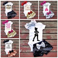 Wholesale Kids Headband Brand - 2017 summer girls boutique outfits baby girl clothing sets 3pcs infant kid lace bow headband rompers rose gold sequin shorts toddler clothes