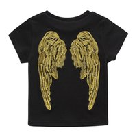 Wholesale Angle Wing Shirt - Everweekend Boys Girls Angle Wings Embroidered Tees Black Color Cotton T Shirts Blouse Tops Children Clothing Tops
