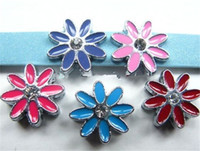 Wholesale Dog Collar Charm Accessories - mix color sun flower 8mm mix color Slide Charms Fit Pet Dog Cat Tag Collar Wristband DIY accessory