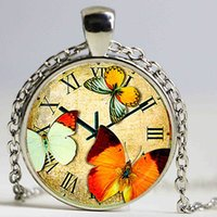 Wholesale Friendship Art - silver plated Clock Butterflies pendant retro art picture Clock Necklace woman fashion jewelry christmas friendship gift