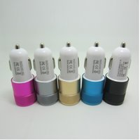 Wholesale Mini Car Charger Micro Usb - Cannon metal dual USB car charger Aluminum Alloy car charger 2.1A 1A dual U car charger
