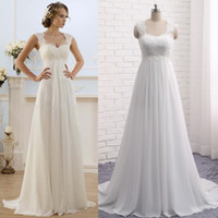 Wholesale Lace Maternity Wedding Gowns - Cheap Summer Beach Maternity Wedding Dresses A Line Sweetheart Lace Beads Empire Waist Pregnant Bridal Gowns Bohemian Beach Wedding Dress
