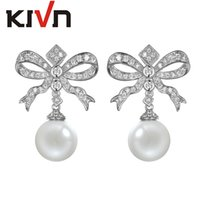 Wholesale Fashion Ribbon Earring - KIVN Fashion Jewelry Dangle Bow Ribbon Pave CZ Cubic Zirconia Womens Girls Simulate Pearl Bowknot Earrings Promotion Birthday Gifts