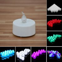 Wholesale Wholesale Flicker Tea Lights Candles - colorful led candles tea light Flicker Flameless LED Tealight Tea Candles Lights holders Wedding Birthday Party Christmas Decoration