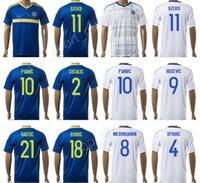 Wholesale Bosnia Herzegovina - Custom Bosnia and Herzegovina Jersey Soccer 9 Vedad Ibisevic Football Shirt 10 Miralem Pjanic 8 Haris Medunjanin 11 Edin Dzeko 4 Emir Spahic