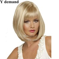 Wholesale Wholesale Cheap Wigs - Fashion Celebrity Wig For Women Blonde Bob Straight Cheap Synthetic Hair Wigs Female Heat Resistant Wholesale