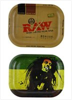Wholesale 2017 Chic RAW BOB Marley Roll Tray Metal Tobacco Rolling Tray Glass Pipe Accessories Handroller Smoking Pipe Roll Trays Machine Tools