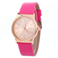 Wholesale Ladies Students Watch - 2017 simple geneva leather watch unisex fashion mens women wholesale leisure casual ladies students quartz wrist watches