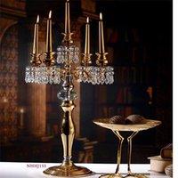 bling olayları toptan satış-10 adet / grup 68 cm (H) Altın veya Gümüş Bling Çiçek standı düğün masa centerpiece düğün şamdanlar Olay Prop