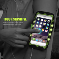 Wholesale Led Water Roses - FLOVEME-0009 LED Switch Glows Arm Band Case For iPhone 7 6 6s Plus Running Fitness 120 Hours Flash Use Armband Case For iPhone 6 6s 7