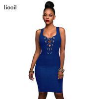 Wholesale women s blue jean dresses - Liooil Blue Lace Up Sexy Hollow Out Denim Dress 2017 Summer Sleeveless O Neck Rivet Zipper Bodycon Black Jean Women Dresses q171118