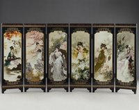 Wholesale Paint Ware - CHINA LACQUER WARE OLD HAND PAINTING BELLE COLLECTIBLES BEAUTY SCREEN NICE FOLD