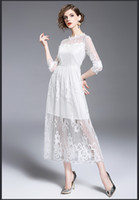 Wholesale Korean Floral Beach Dresses Women - 2017 new Korean fashion spring and autumn was thin lace white beach dress forml party dresses long evening dresses women clothing1215#