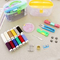 Ferramentas de costura Kit de costura Home portátil Thread Threader Needle Tape Measure Scissor Thimble Storage Box Case