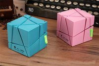 Wholesale Cute Usb Speakers - Cube Bass Bluetooth Speaker Mini Portable Cute Wireless Handsfree Speakers With LED With FM TF Card Lights hot selling