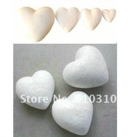 Wholesale Wholesale Heart Styrofoam - Wholesale- Free shiping wholesale 9.4cm natural white styrofoam heart foam for nylon stocking flower accessories and diy crafts(24pcs lot)