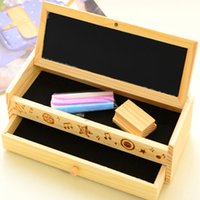 Wholesale Diy Wooden Pencil Case - 1pcs free shipping Multifunctional wooden Pencil Case DIY small blackboard drawer stationery Student Wooden Storage Bags