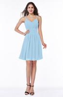 ingrosso semplici abiti semplici-Semplice design Pretty Ladies Dress Cheap Spaghetti cinghie Abito in chiffon azzurro per la breve lunghezza damigella d'onore