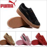 Wholesale Sale Woven Table - 2017 for sale Puma weaving vamp Womens Running Shoes,mens Pumas fenty Rihanna shoes sneakers Creeper Camo Cream 36-39 Free Shipping