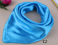 Wholesale Silk Square Neck Scarves - Wholesale-23'' New Brand Silk Square Scarf Neckerchief Pure Color Work Wear Neck Scarf Women's Hair Scarves Bandanas Headwear 60*60cm Gift