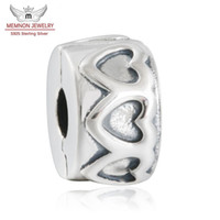 Wholesale Spacer Bead Charms - Memnon Jewery 2016 Autumn New Row of Hearts Spacer Clip Charms Beads 925 Sterling Silver Stopper Lock Clip Beads Jewelry Making DIY KT066
