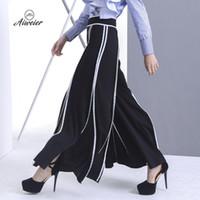 Wholesale Women Korean Style Flat - [Aiweier] Womens Pants Autumn Striped Female Long Wide Leg Pants Korean Style Zipper Black Elegant Loose Casual Trousers QD454