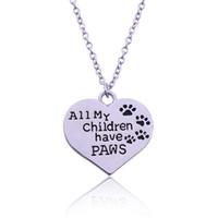 ingrosso porta collane di zampa-Ingrosso Novità Tutti i miei bambini hanno PAWS Moda Orso Orma a forma di cuore Collana in argento a forma di ciondolo