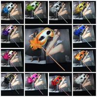 dans bezleri toptan satış-Sopa Çiçek Maske Üzerinde Cadılar Bayramı Altın Bez Kaplı Çiçekler Yan Venedik Masquerade Maskeleri Dans Parti Aksesuarları 3 1gn B R