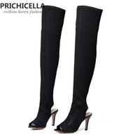 Wholesale Summer Knitted High Heel Boots - women fashion beige knitted thigh high boots sexy black high heel open toe long elastic boots