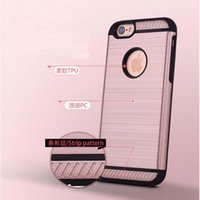 Wholesale Stripped Iphone Case Tpu - Strip Pattern Hair Line Hybrid 2 in 1 Case 360 Degree Protection Case Armor Hard PC TPU Back Cover for iphone6 iphone7 7P