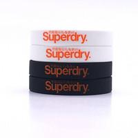Wholesale Chain Silicone Rubber Bracelet - 100pcs lot 'Superdry' silicone bracelets Printed letter rubber band Soft rubber bangleBlack white color silicone wristband