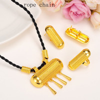 Wholesale small copper bells for sale - Group buy Latest Moggy Small bell Antique Jewelry Set Necklace Earrings Pendant Ring k Yellow Fine Gold GF Eritrea Women s Fashion Habesha