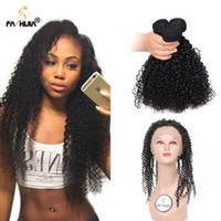 Wholesale Brazilian Hair Tight Curls - 360 Lace frontal with bundle with baby hair tight jerry curl natural color brazilian curly hair 3pcs afro kinky curly hair with closure