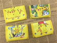 Wholesale Pokemon Coins - Cartoon Poke Go Pikachu Wallets for Children Kawaii Pocket Picacho Kids Short Wallet Mini Coin Purse Baby Fashion Bags