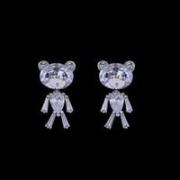 Wholesale Teddy For Sale - Cute Zircon Crystal Teddy Bear 925 Sterling Silver Stud Earrings High Quality Animal Earrings Hot Sale Silver Jewelry for Women