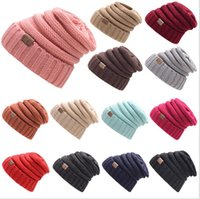 Wholesale Black Oversized Top - New Winter Unisex CC Beanie cap Trendy Warm Oversized Chunky Soft Oversized Cable Knit Slouchy Beanie 17color