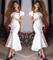 Wholesale Cheap One Sleeve Cocktail Dresses - Exquisite Bow Cap Sleeves Little White Mermaid Cocktail Dresses 2017 Pleats Ankle Length Hi Lo Prom Evening Party Gowns Short Prom Cheap