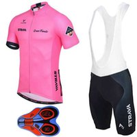 Catazer Summer Style Cycling Jerseys Set Pink Ultra Respirável Cycling Tops + 9D Gel Padded Shorts Bike Wear Tamanho XS-4XL para homens Mulheres