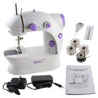 Wholesale Portable Sewing Machine Manual Mini Speed Double Thread Double Speed Portable Sewing Machine With Light and Cutter White Purple